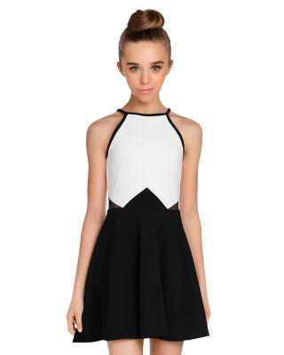 Sally Miller Girls' Anissa Geometric Color-Block Dress - Big Kid - Ivory #sallymiller