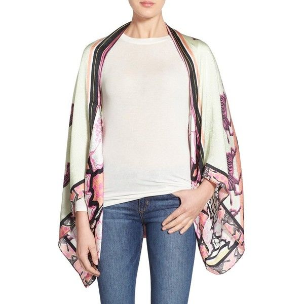 Ted Baker London Zebra Floral Silk Cape ($185) ❤ liked on Polyvore featuring outerwear, fuchsia, white cape coat, cape coat, ted baker and white cape