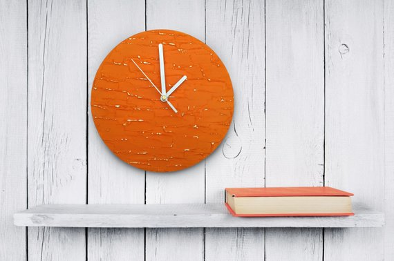 Orange Clock Modern Wall Unique Wood Decor Tangerine