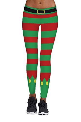 5073ebded6 New Meenew Women's Ugly Chritsmas Leggings Stripe Tights Workout Stretchy  Pants. Christmas Clothing [$9.99