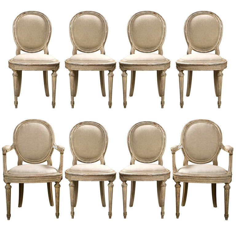 1stdibs | Set Of 8 French Louis XVI Style Painted Dining Chairs Jansen