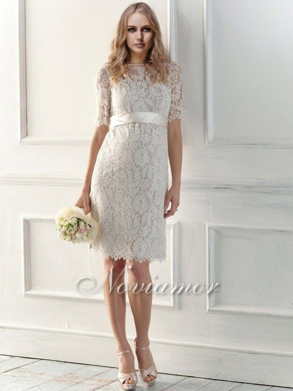 Vintage High Neckline Short Lace Wedding Dresses With Sleeves | Chic ...