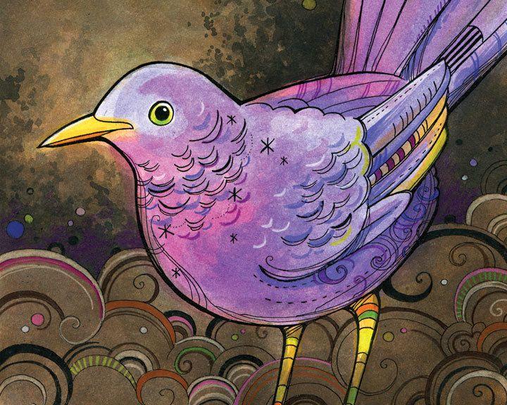 Art Print Purple Bird Illustration 8x10 by annibetts on Etsy