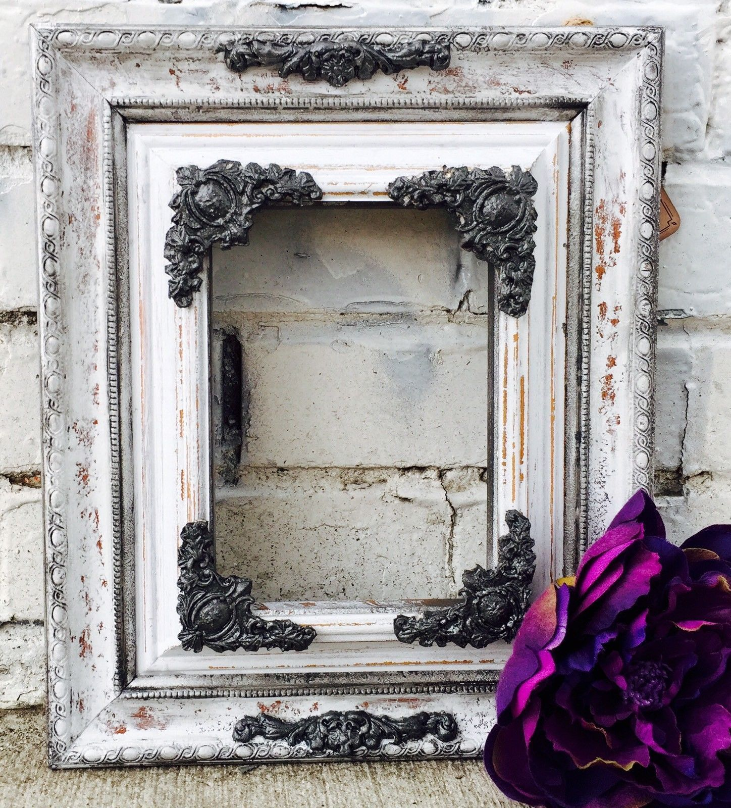 Refurbished Shabby Chic White And Charcoal Gray Picture Frame The Outside Dimensions Of The F Grey Picture Frames White Shabby Chic Shabby Chic Picture Frames