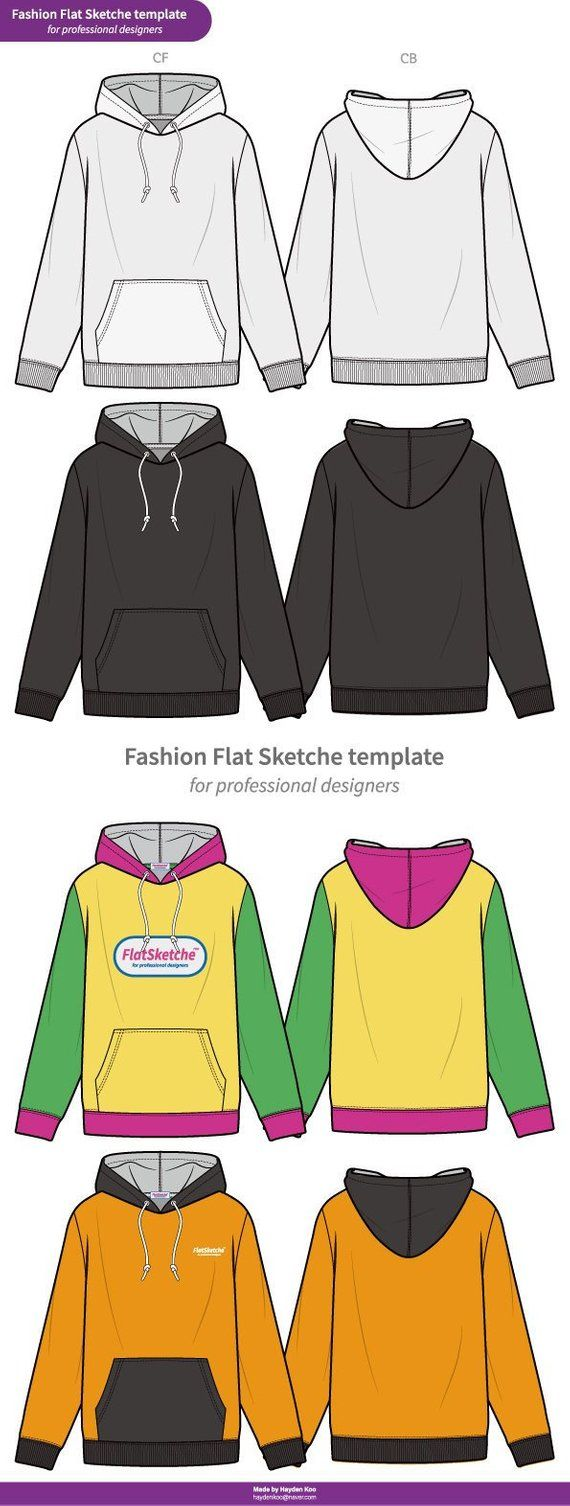 53cd6c913 HOODY Fashion flat technical drawing vector template