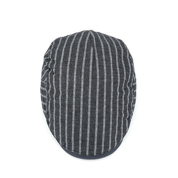 1e1ea1ae33ee0 Men Retro Cotton Stripes Beret Cap Travel Leisure Breathable Soft Peaked Hat