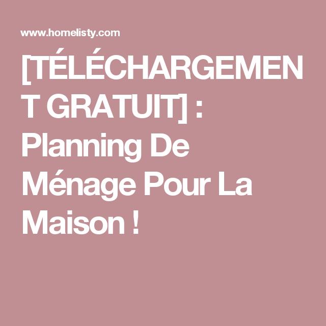 Telechargement Gratuit Planning De Menage Pour La Maison Menage Planning Menage Planning