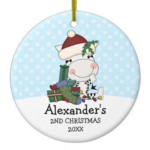 Whimsical 2nd Christmas Santa Zebra Personalized Ceramic Ornament ...