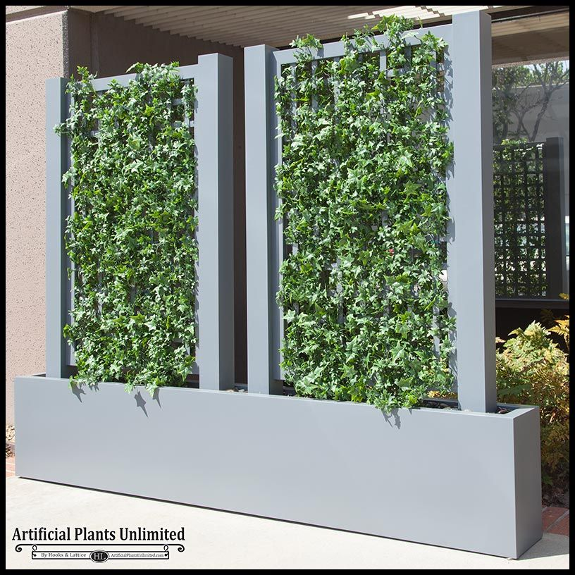 English Ivy Trellis Space Divider In Fiberglass Planter Artificial Plants Indoor Artificial Plants Outdoor Artificial Plants