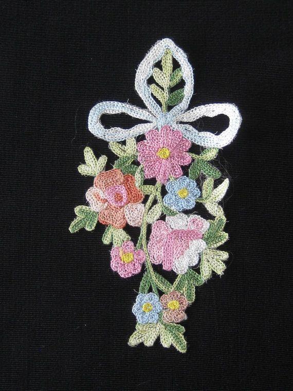 Older Vintage Tambour Embroidery Floral Applique by KISoriginals, $24.95