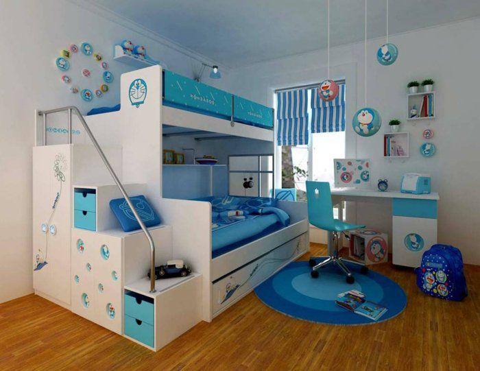 kinderzimmer einrichten ideen in blau und weiß parkett boden