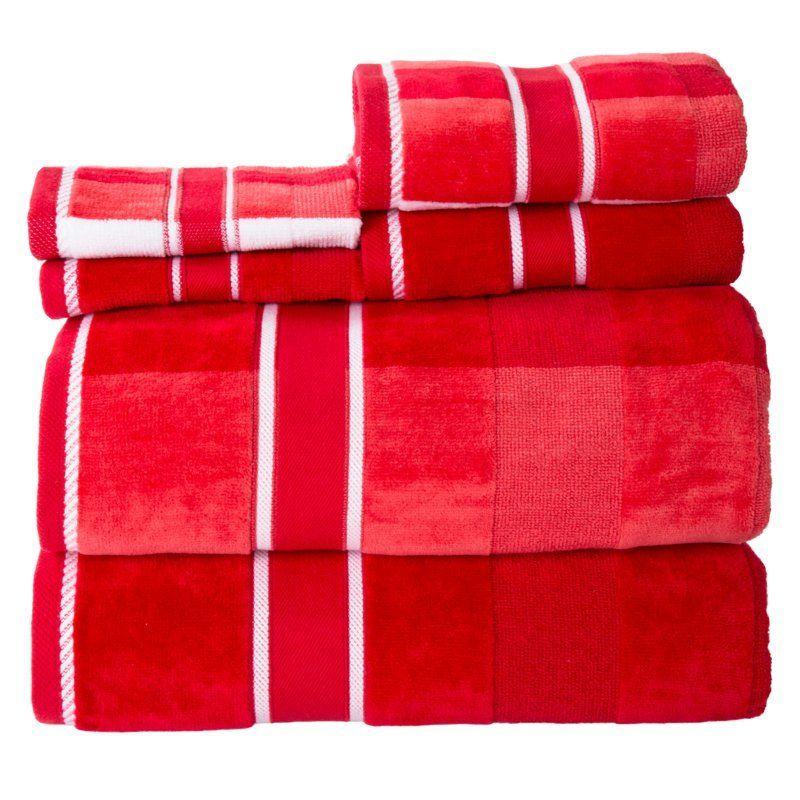 Lavish Home Oakville Velour 6 Piece Cotton Bath Towel Set Velour Towel Towel Set Bath Towel Sets
