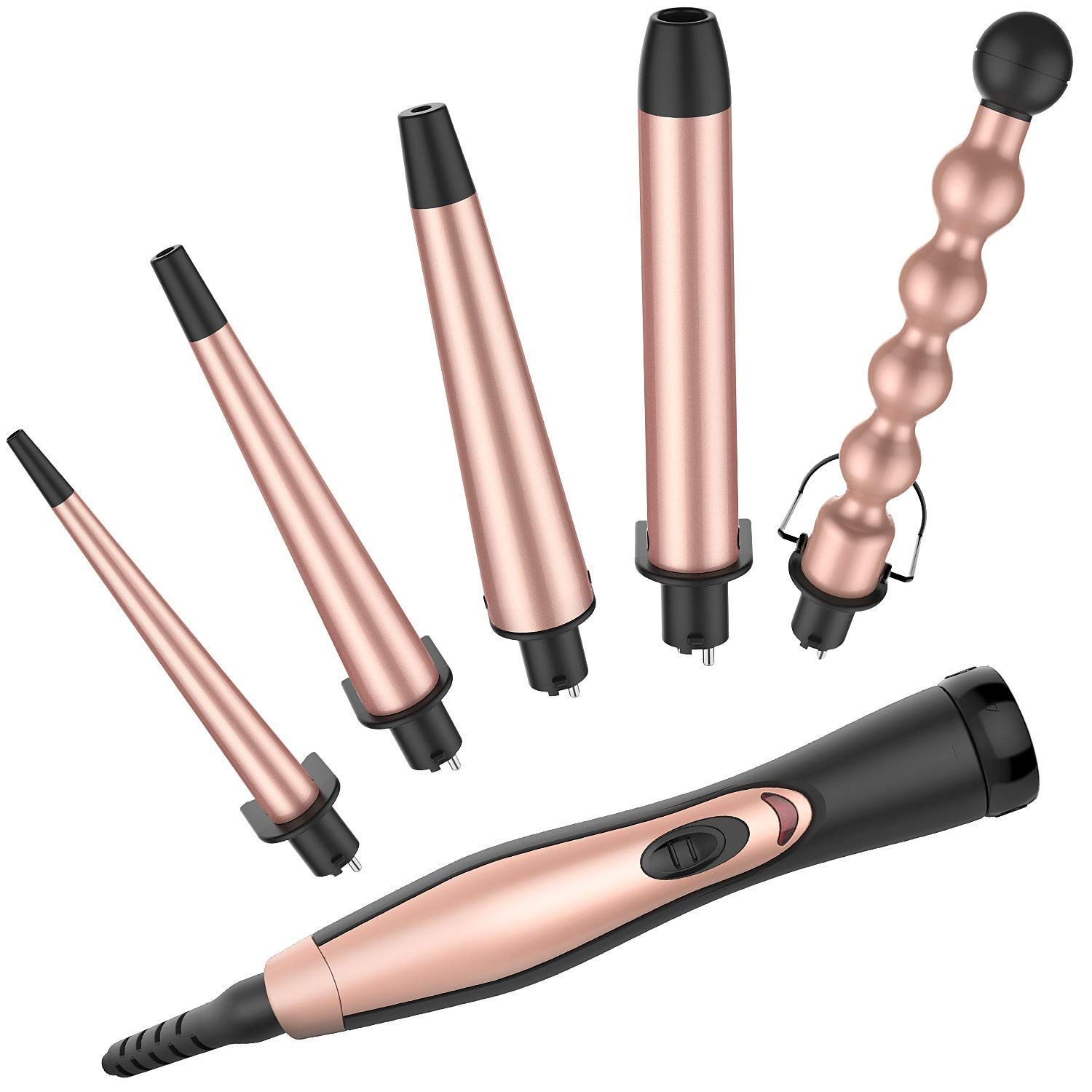 Bestope 5 In 1 Professional Curling Iron Wand Set With 5 Interchangeable Ceramic Barrels 0 35 To1 25 And Heat Protective Glove Curling Wand Set Curling Hair With Wand Best Curling Wands