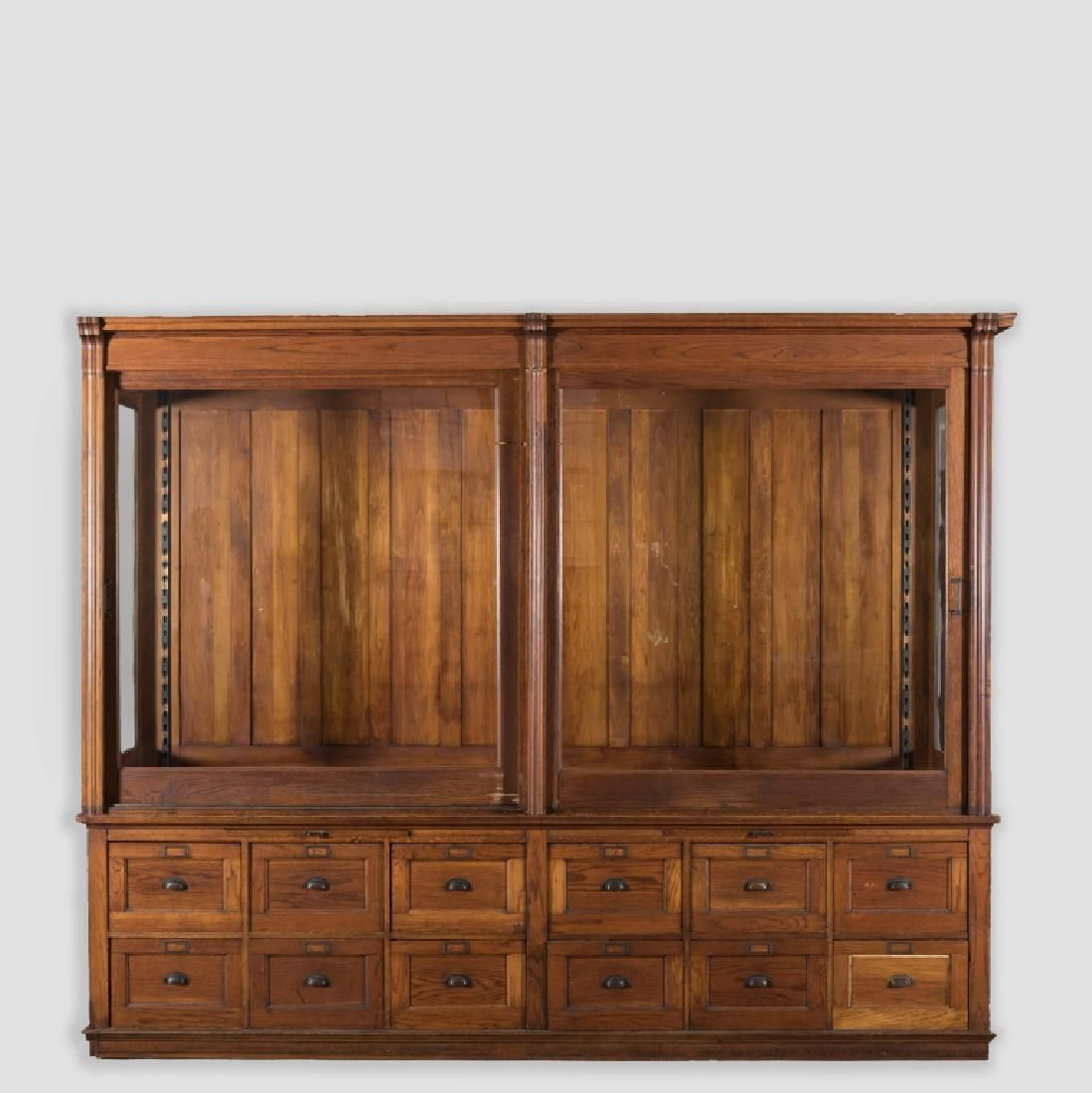 Massive Victorian Oak Display Cabinet With Sliding Glass Doors And