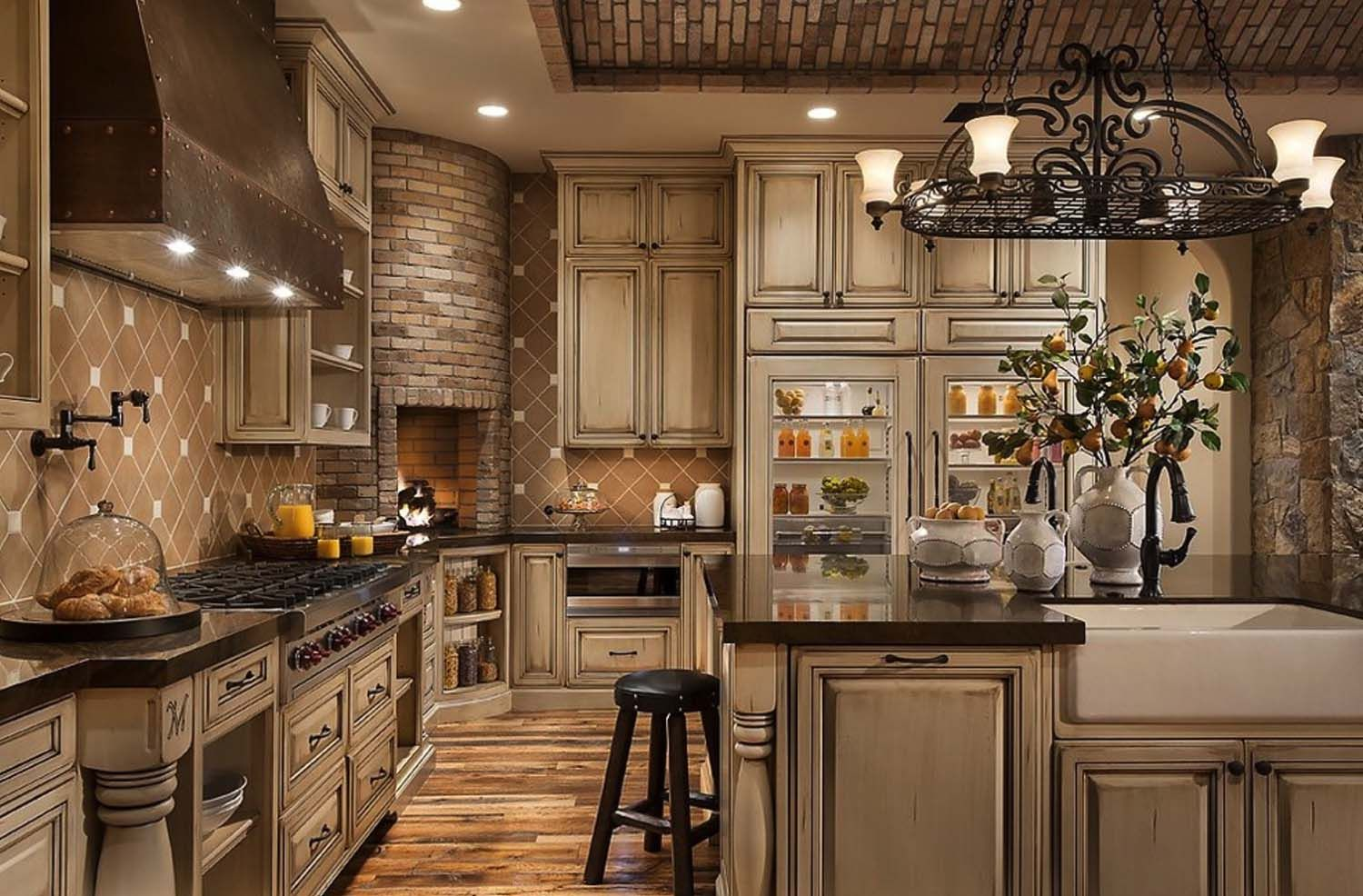 25 Fabulous Kitchens Showcasing Warm And Cozy Fireplaces Tuscany Kitchen Tuscan Kitchen Design Tuscan Kitchen