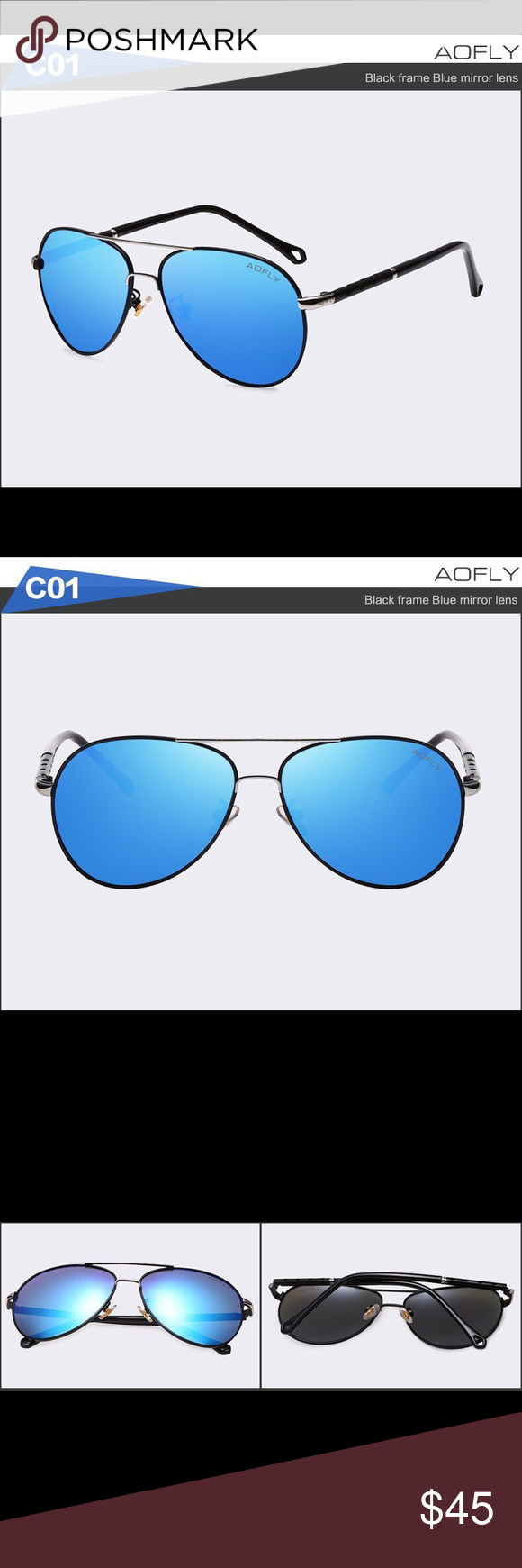 2ed78e1a408 AOFLY Authentic Men s Aviator Sunglasses High quality material black metal  frame with blue mirrored lenses.