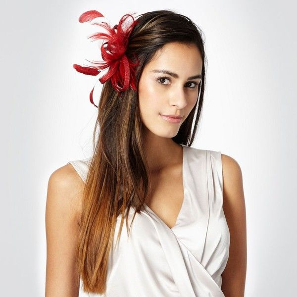 Red Loop Feather Hair Clip Fascinator 27 Found On Polyvore Feather Hair Clips Feathered Hairstyles Hair Clips
