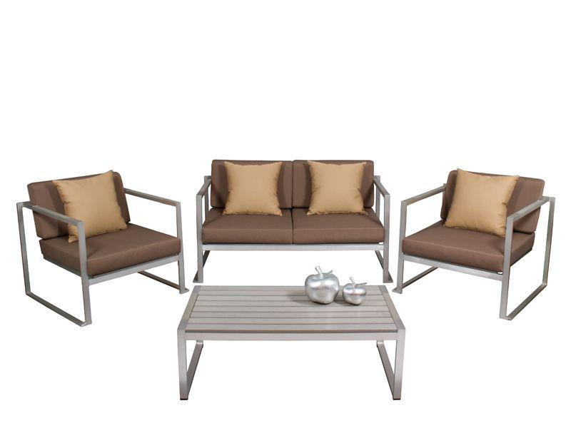 Conjunto 4 piezas aluminio gris cojines en marr n oscuro - Superstudio muebles ...