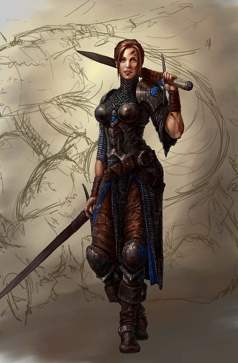 Human female dual swords characters warriors - Fantasy female warrior artwork ...