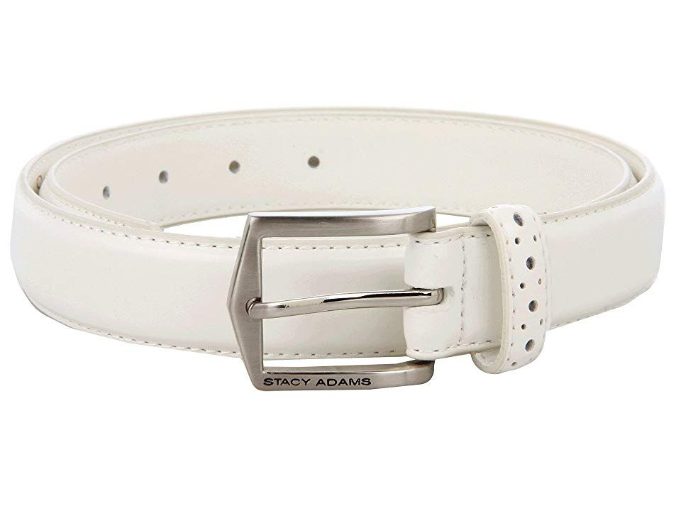 Stacy Adams 087 White Mens Belts Looked polished and put together with this belt from Stacy Adams Belt made of smooth leather Single prong buckle Perforated belt loop Imp...