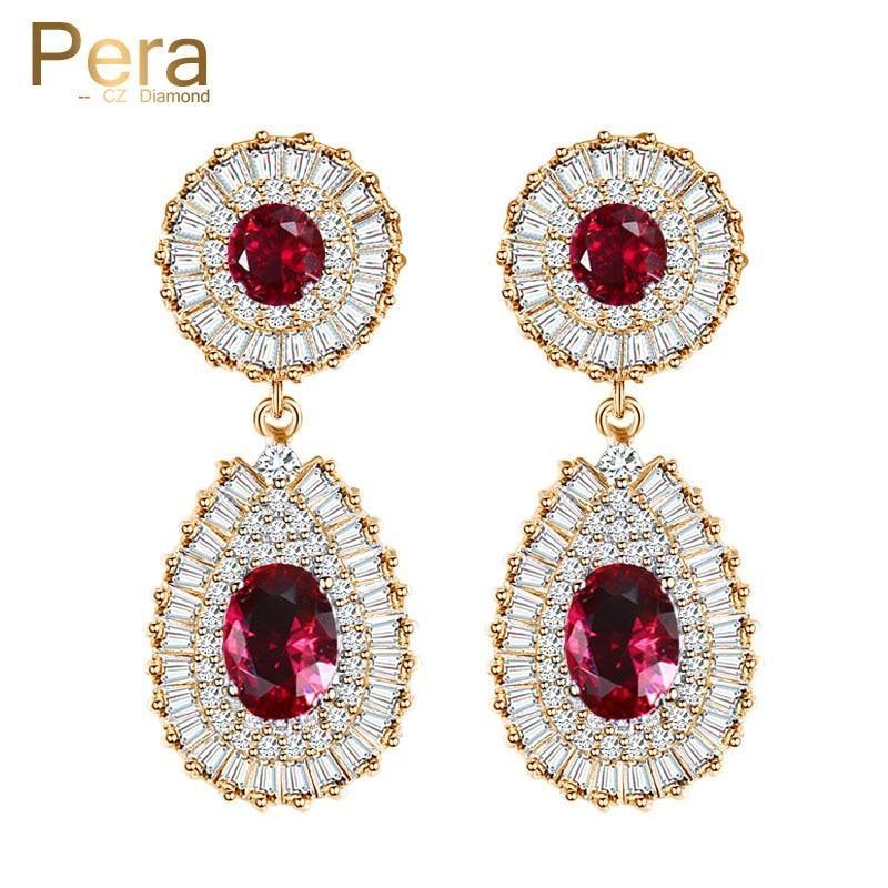 ee50bd84f Luxury Gold Color Big Round Red Cubic Zirconia Stone Dubai Bridal Wedd – US  MART NEW