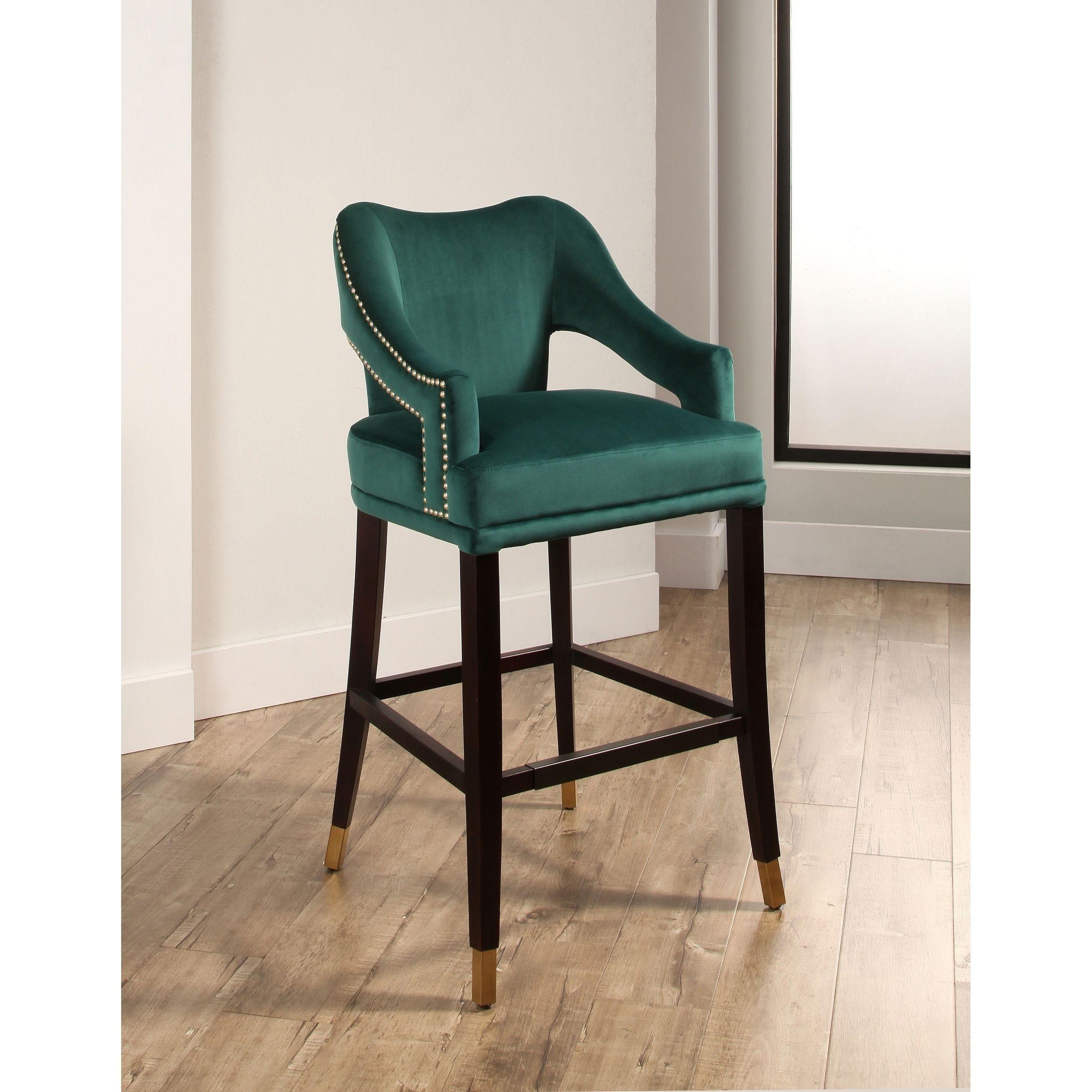 Wondrous Abbyson Darcy Curved Back Velvet Bar Stool Navy Blue In Creativecarmelina Interior Chair Design Creativecarmelinacom