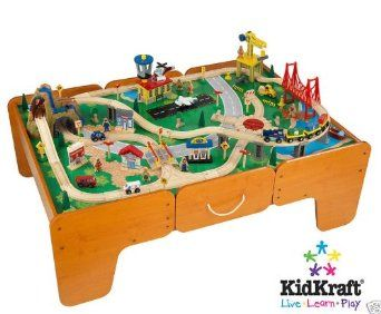 Amazon Com Kidkraft Limited Edition Waterfall Mountain Train Table And Train Set W Drawers Toys Games Train Table Wooden Train Set Train Set Table