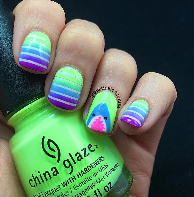 Nailpornography Shark Week Notw Inspiration Neon Manis