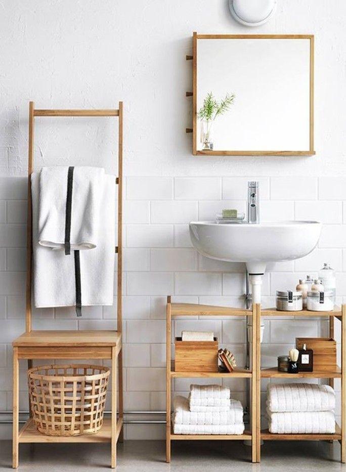 Ikea Bathroom Furniture Light Wood Pine Laundry Basket Shelves