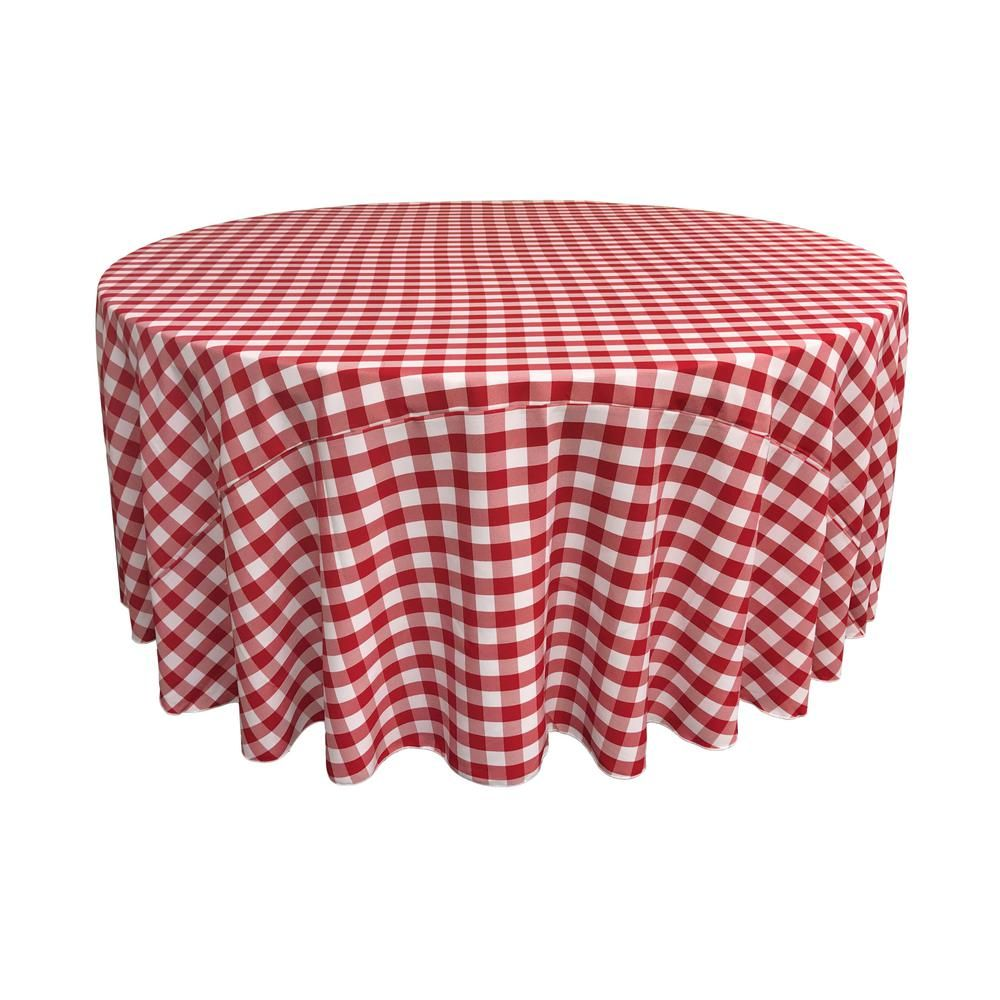 White And Red Polyester Gingham Checkered Round Tablecloth