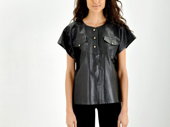 Gingette BLACK LEATHER Shirt by IKAHN on Etsy, $128.00...too much $$$, but fabulous:)