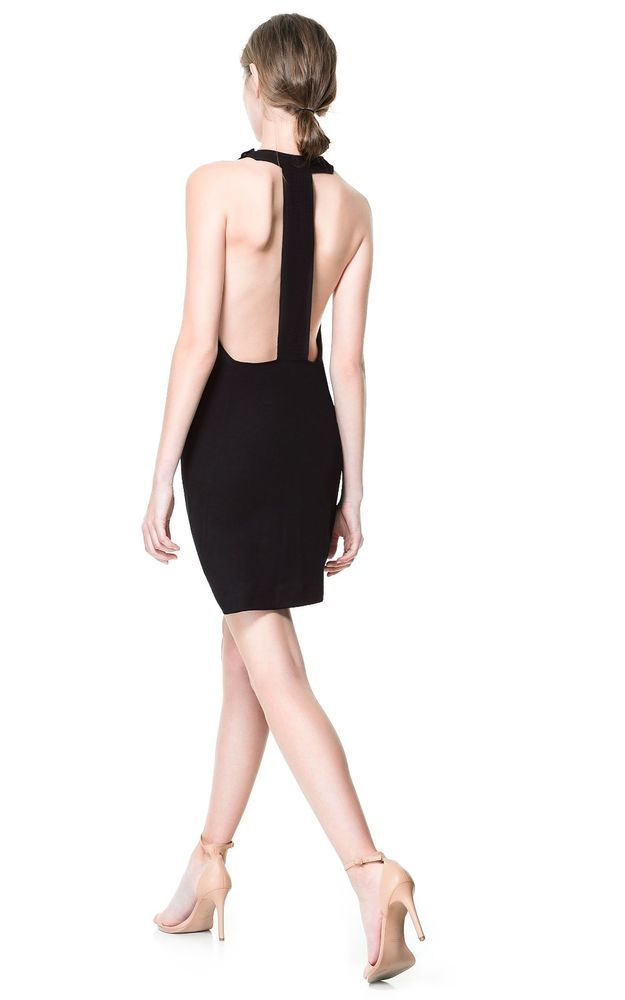17644c42078 NWT ZARA BLACK HALTER NECK BACKLESS DRESS CUTOUT BACK FITTED SHIFT SHEATH M  #ZARA #Shift #Cocktail