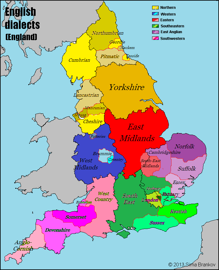 Dialects of England Mappe, Gran bretagna, Infografica