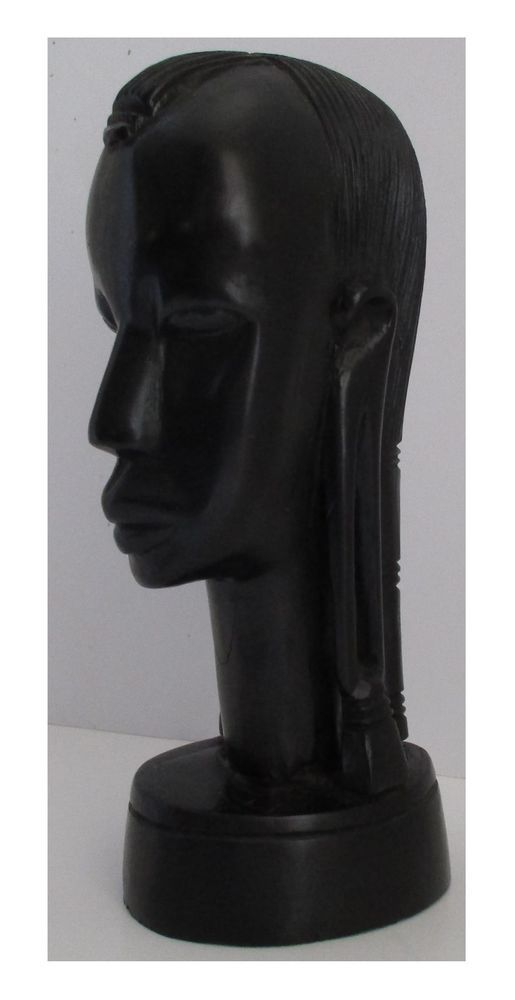 8 Tall Vintage African Ebony Wood Hand Carved Female Head Tribal Sculpture African Ebony Sculpture Ebony Wood #tall #sculpture #for #living #room