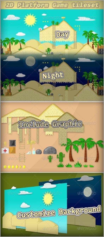 2D platform game tileset (desert theme) - 31 tiles - 4