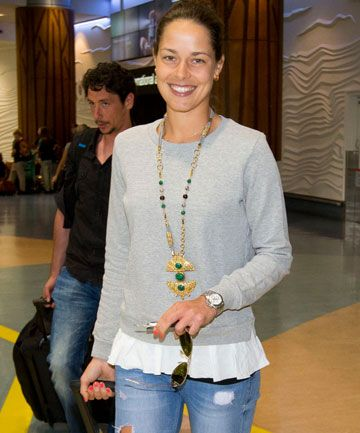 Ana Ivanovic arriving at Auckland Airport.