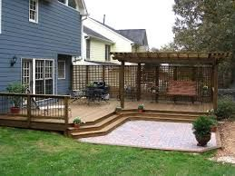 Ideas For A Ground Level Deck With Pergola Google Search Patio