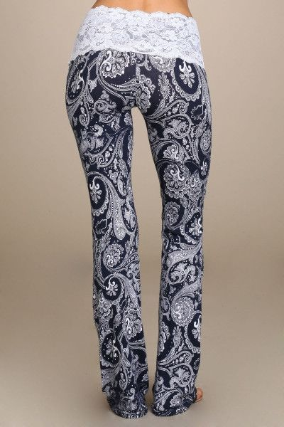 47effcd031f1a6 Lace-waist bootcut printed yoga pants. - Made in USA 95% Cotton Jersey 5%  Spandex - Sizes: S = 0-4 M = 6 -/8 L = 10/12 XL = 14/16, 2XL = 18/20 , 3XL  = 22 ...