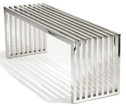 Fabricated Steel Coffee Table: Fine Mod Imports Zeta Stainless Steel Bench Long