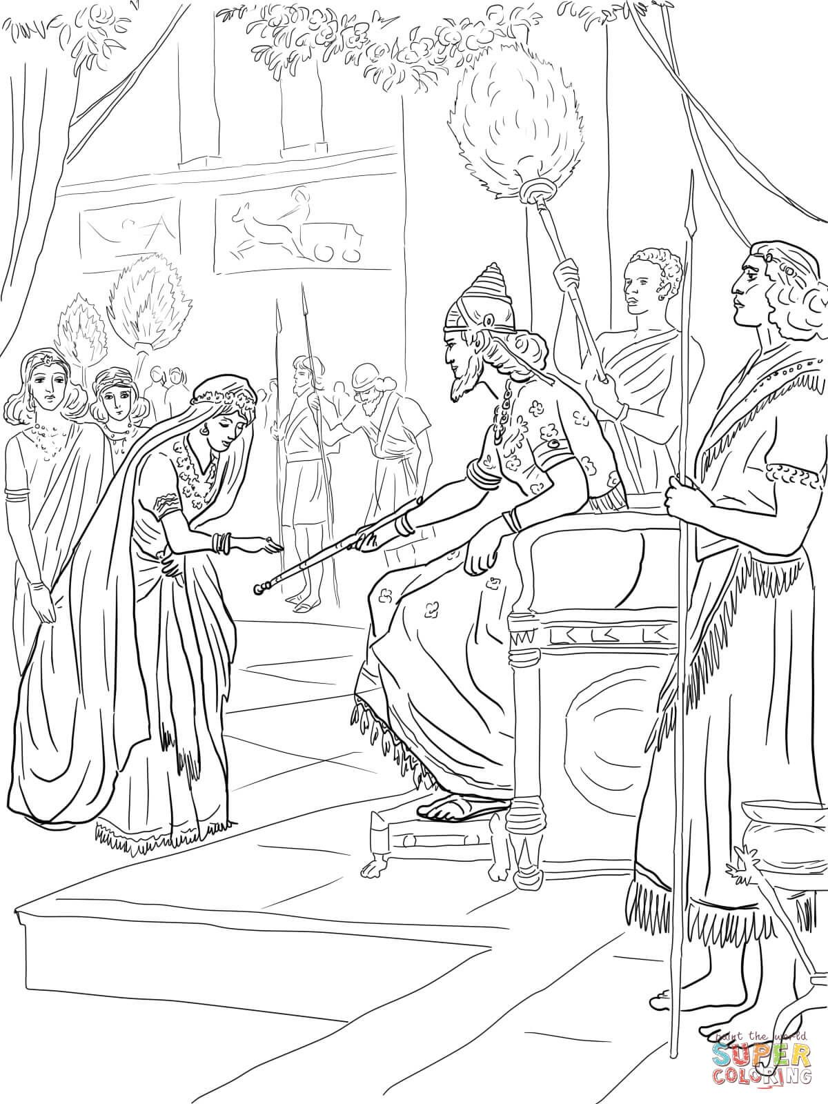 Esther And King Xerxes Super Coloring Coloring Pages Veterans Day Coloring Page Bible Coloring Pages [ 1600 x 1200 Pixel ]