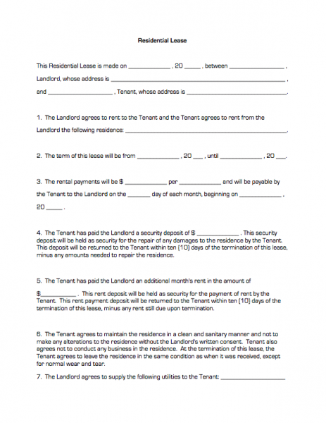 Printable Sample Residential Lease Form – Residential Lease