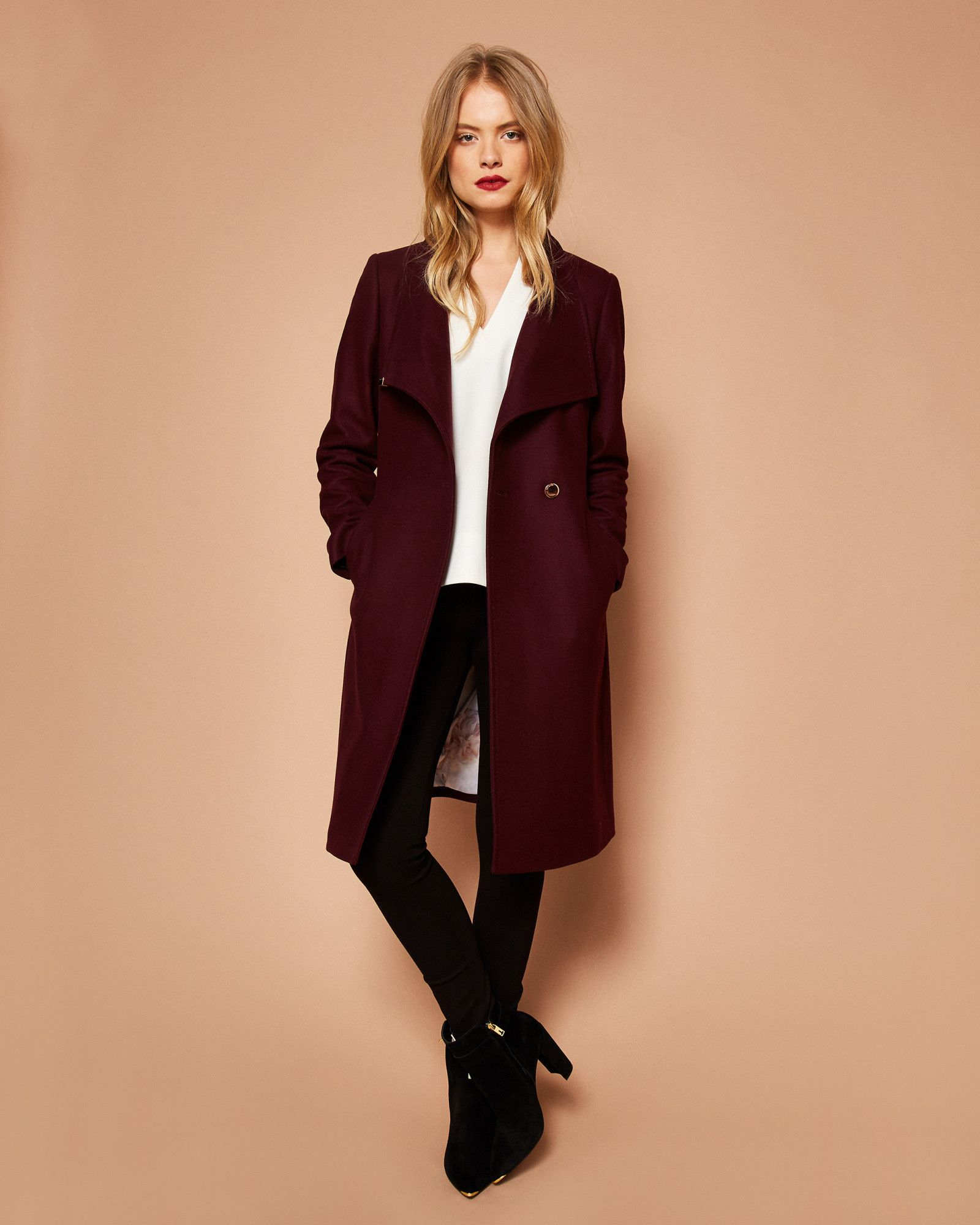 05f0d7ec5a52 Shop Womens Outerwear at. KIKIIE Cashmere-blend wrap front coat  TedToToe. Ted  Baker ...