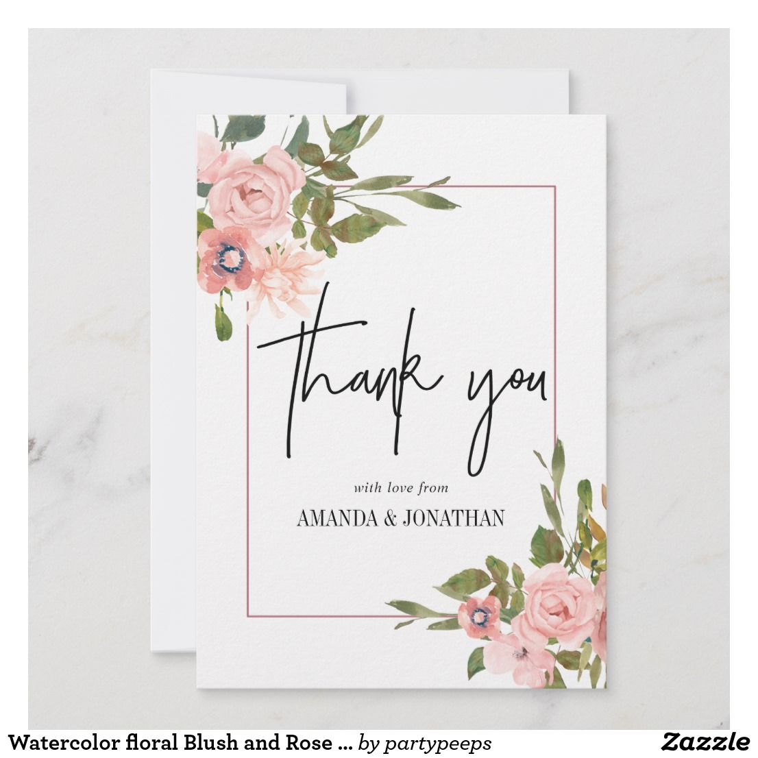 Watercolor Floral Blush And Rose Gold Thank You Zazzle Com With
