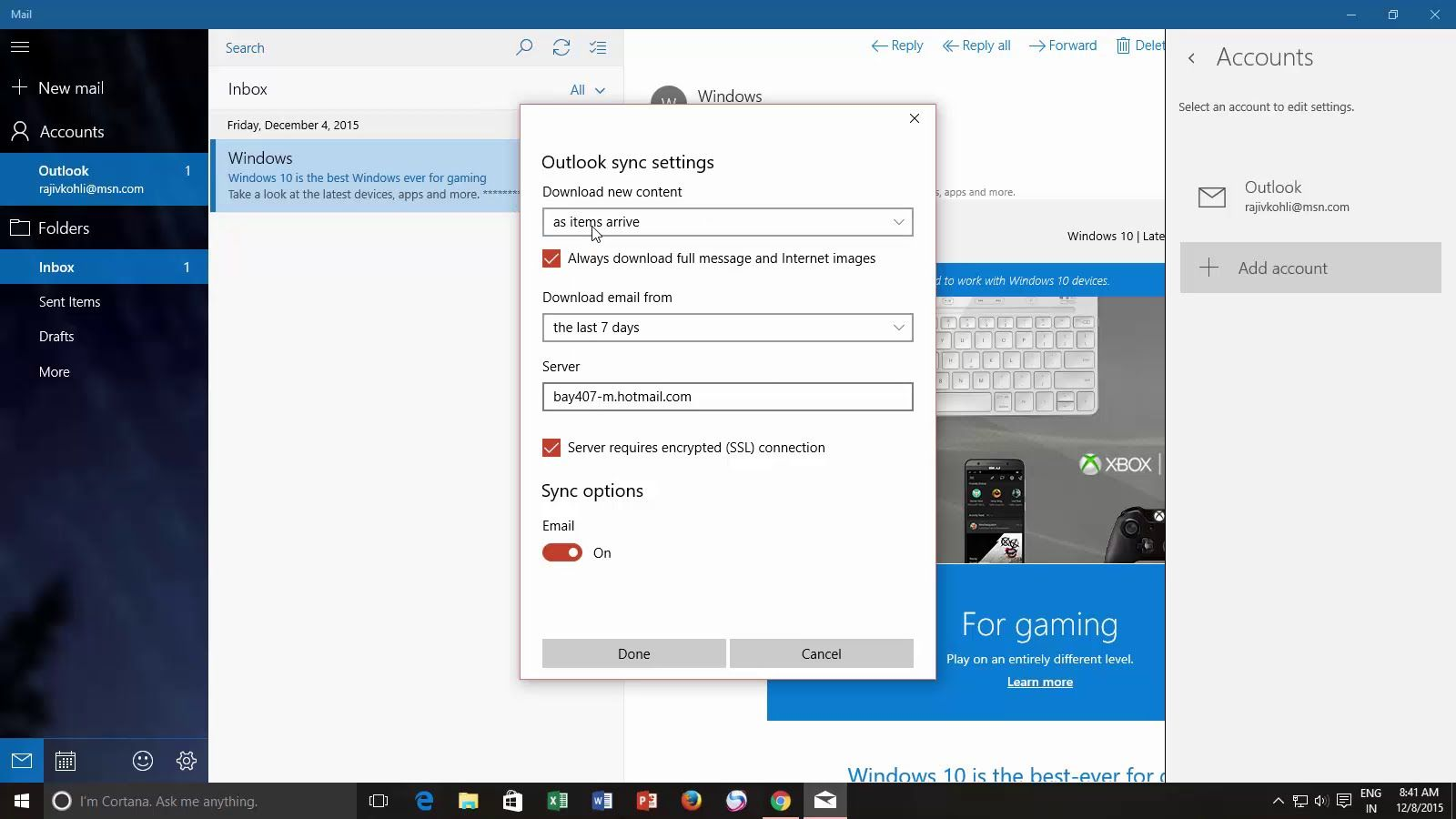 Windows 10 Tutorial Change Mail App Sync Settings With Images