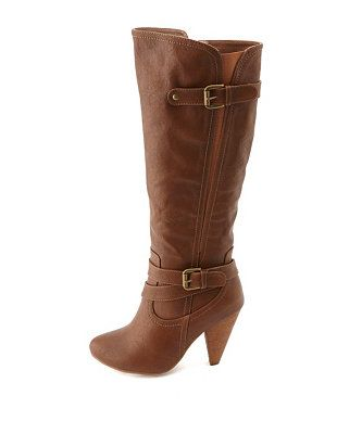 Stretchy Belted Knee-High Heel Boots: Charlotte Russe