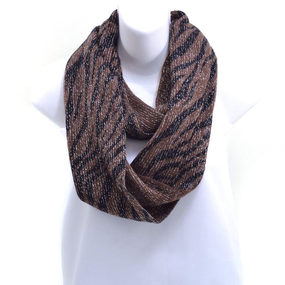 Zebra print fleece infinity scarf brown zebra print infinity and