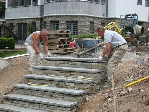 Stone Steps Dry Set With Bluestone Treads Landscapeadvisor