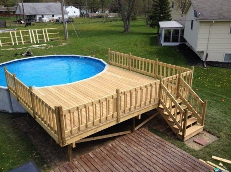 Above Ground Pool Is The Most Efficient Option When It Comes To Building A Pool But Before Start Swimming Pool Landscaping Pool Deck Plans Decks Around Pools