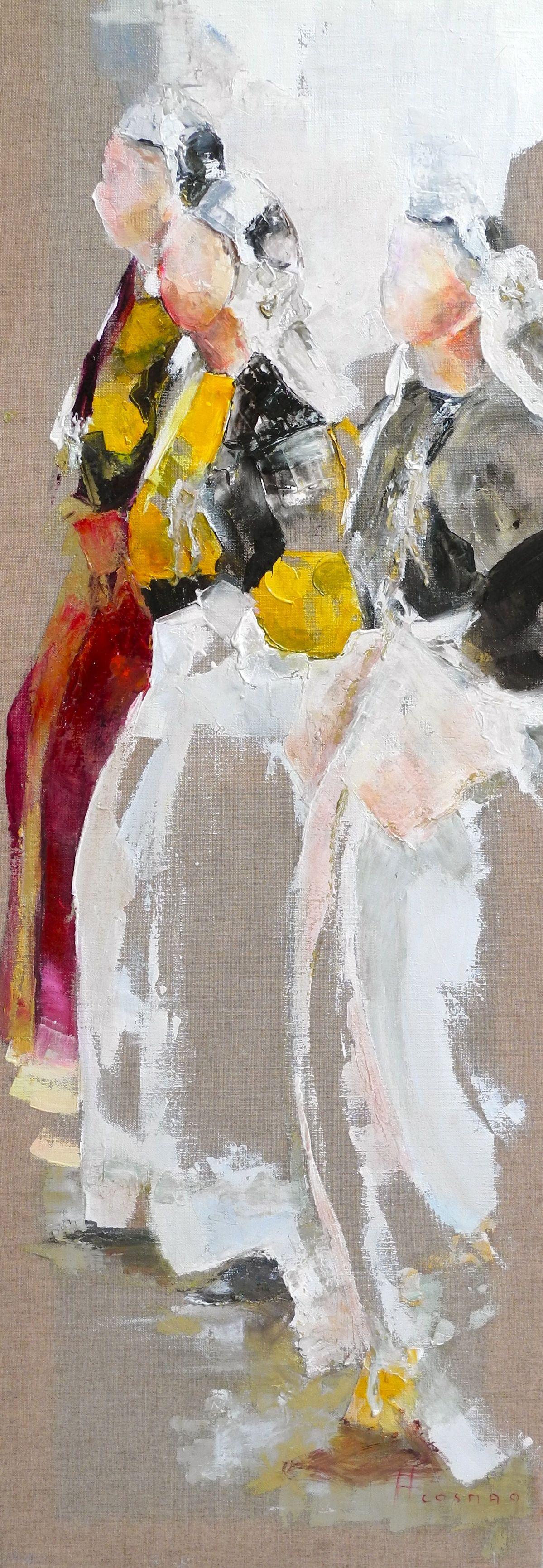 Francoise Cosmao Profils Huile Sur Toile De Lin Peinture