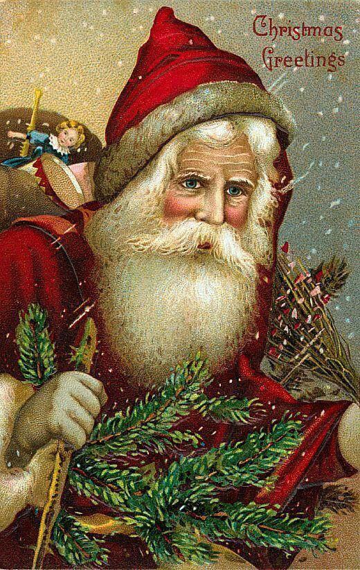 Vintage Christmas Fabric Block Old World Santa Claus ...